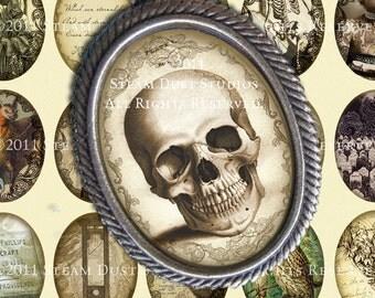 Victorian, Goth, Poe, H.P. Lovecraft, Skulls, Vampire Bats, Ravens, etc. - 30x40mm Oval Images - Instant Download - Digital Collage Sheet
