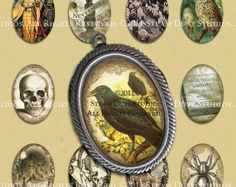 Victorian Goth Poe Lovecraft Skulls Vampire Bats & more - 18x25mm Oval Images - Digital Collage Sheet - Instant Download