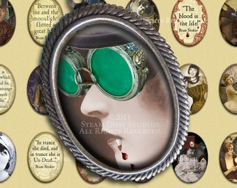 Vintage Vampires -Victorian, Goth, Steampunk Flapper Girls - 18x25mm Cameo-Size Oval Images - Digital Collage Sheet - Instant Download