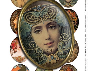 Art Nouveau Ladies - 2 x 2.5 inch large Oval Images - Mucha, Parrish, etc. - Digital Collage Sheet - Instant Download & Print