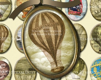 Steampunk Antique Hot Air Balloons - 30x40mm Cameo-Size Oval Images - Digital Collage Sheet - Instant Download