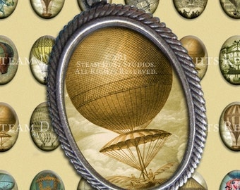 Antique Steampunk Hot Air Balloons - 18x25mm Cameo-Size Oval Images - Digital Collage Sheet - Instant Download