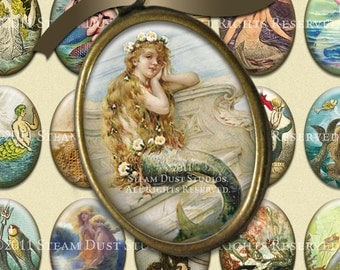 Vintage & Victorian Mermaids - 30x40mm Cameo-Size Oval Images - Digital Collage Sheet - Instant Download