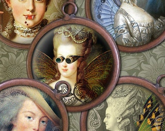 Marie Antoinette - Goth, Vampire Fangs, Steampunk, Faerie Wings. etc. - 1 inch Circles - Digital Collage Sheet - Instant Download and Print