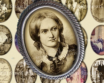 Jane Eyre - Charlotte Bronte - 30 x 40mm Cameo-Size Oval Images - Digital Collage Sheet - Instant Download and Print