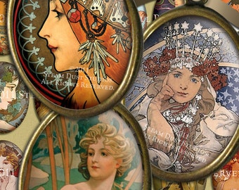 Alphonse Mucha - Art Nouveau Ladies - 30x40mm Cameo-Size Oval Images - Digital Collage Sheet - Instant Download