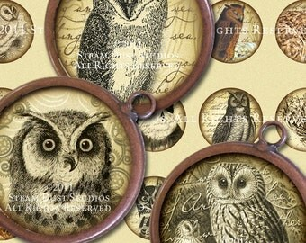Textured Victorian Steampunk Owls - 32mm Round Images - Digital Collage Sheet - Instant Download and Print