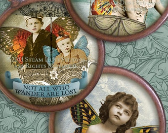 Victorian Steampunk Faerie-Children - Teacup fairy - Butterfly Wings - 1.5 Inch Circles - Digital Collage Sheet - Instant Download and Print