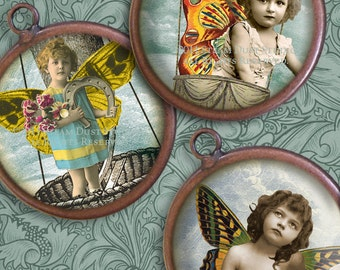 Victorian Steampunk Fairy Children - 30mm Circles - Digital Collage Sheet - Instant Download & Print