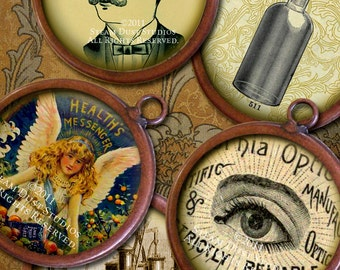 Victorian Steampunk Science & Medicine - 32mm Circle Images - Digital Collage Sheet - Instant Download and Print