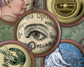 "Steampunk Science & Medicine Digital Download - 1"" Circles - Victorian Oddities - Digital Collage Sheet, Steampunk Printables"