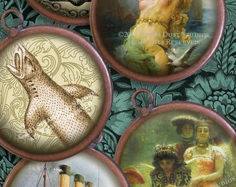 30mm Circles - Victorian Sharks, Ships, Shells, Bathing Beauties, etc. - Digital Collage Sheet - Insant Download and Print