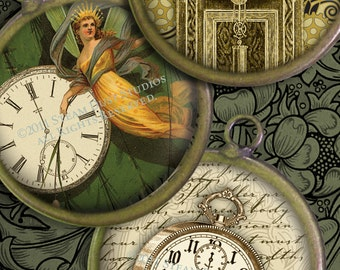 1-1/2 inch Cameo-Size Circles - Victorian Steampunk Clocks, Compasses, Keys - Digital Collage Sheet - Instant Download and Print
