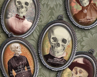 Victorian Goth Skeleton Ladies - 18x25mm Cameo-Size Oval Images - Digital Collage Sheet - Instant Download