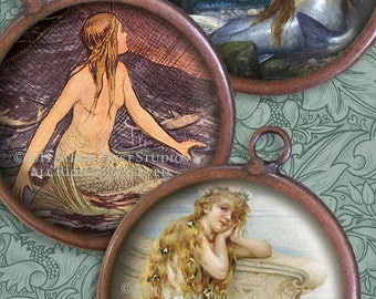Antique Victorian and Vintage Mermaids - 2 inch Circles - Sea Nymphs, Sirens - Digital Collage Sheet - Instant Download and Print