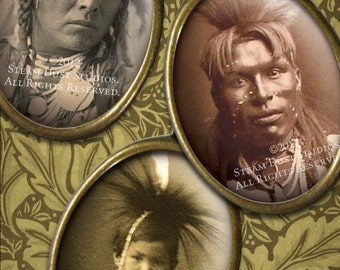 30x40mm Cameo-Size Oval Images - 19th Century Native American Indians - Digital Collage Sheet - Instant Download