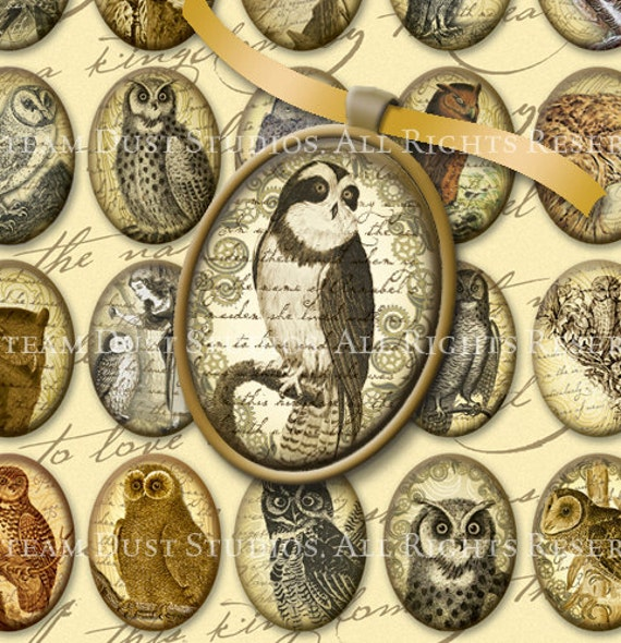 Victorian Owls - 30 x 40mm Cameo-Size Oval Textured Images -  Digital Collage Sheet - Instant Download and Print