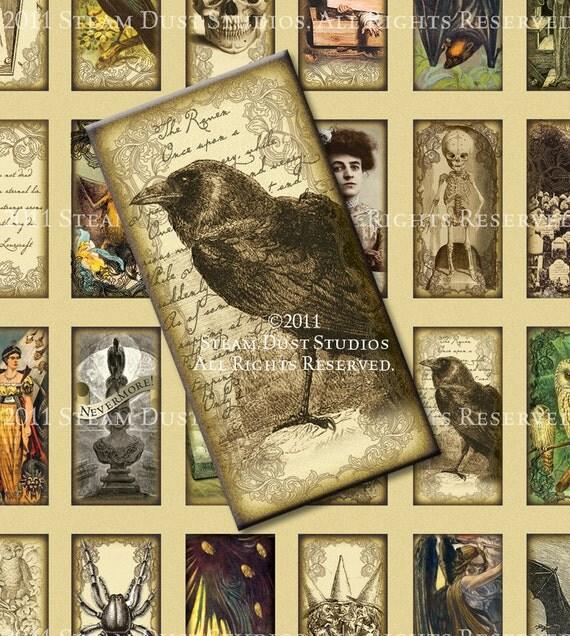 Victorian, Goth, Poe, Lovecraft, Skulls, Vampire Bats, Skeletons, Halloween - 1x2 Domino Tile Images - Digital Collage Sheet - Printables