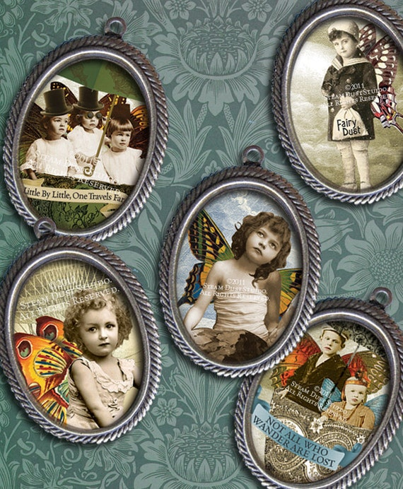 Victorian Steampunk Faerie-Children - 18 x 25mm Cameo-Size Oval Images - Digital Collage Sheet - Instant Download