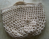 Large Reuseable Grocery Shopping Bag, hand crocheted, 100% cotton