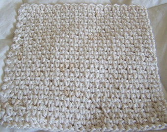 Crocheted Dish Cloths -  large and double thick, unbleached cotton, 100% cotton yarn