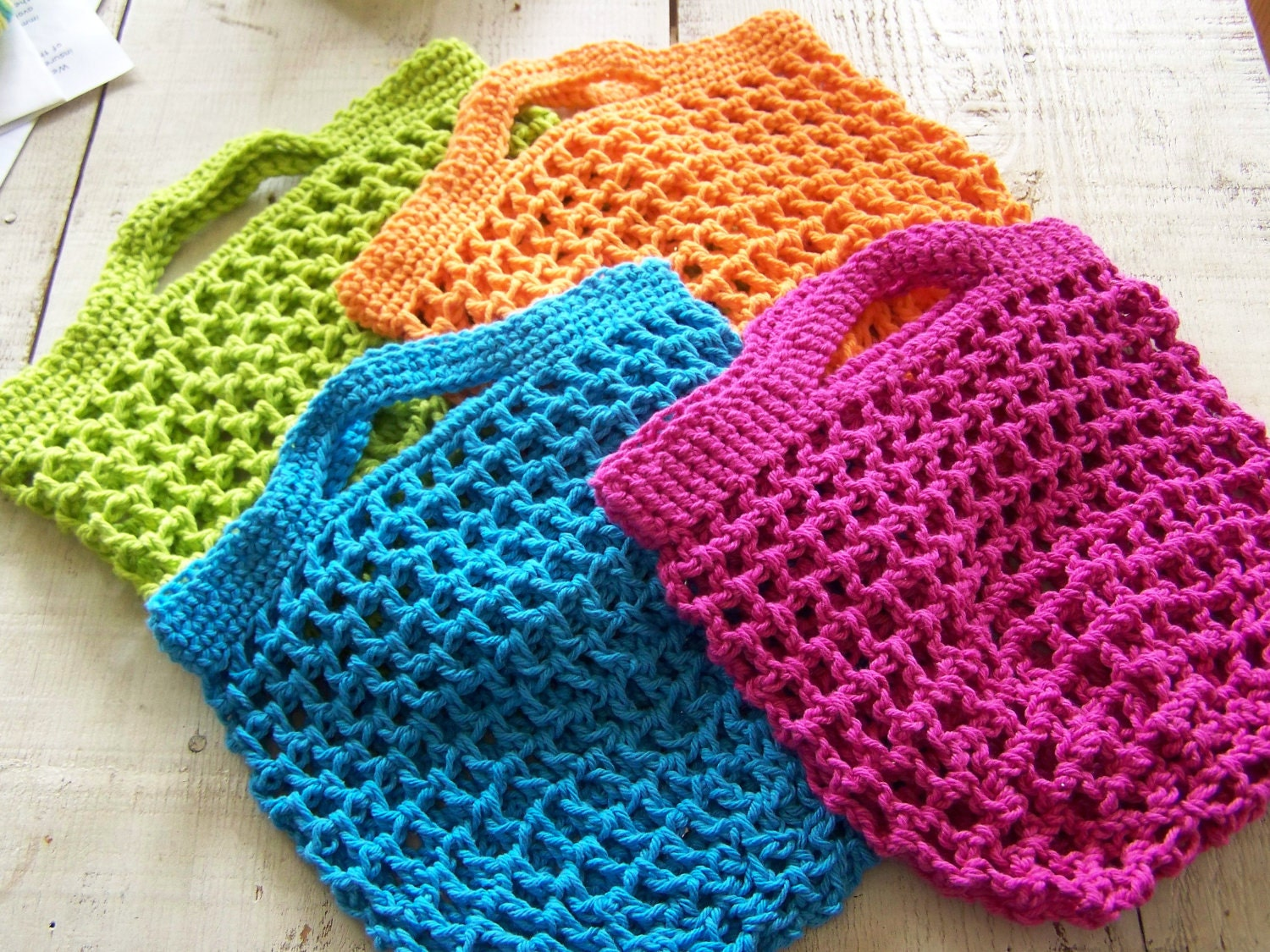 Free Crochet Patterns For Grocery Bags : Grocery Shopping Bag Pattern handmade crochet small produce