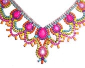One of a Kind Pastel and Neon Handpainted Vintage Rhinestone Necklace (Example)