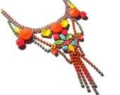 One of a Kind Neon Handpainted Vintage Rhinestone Bib Necklace - Neon Punk (Glow in the dark)