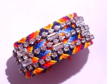 Rhinestone Friendship Bracelet - Exotic Bliss (made to order)
