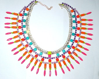 One of a Kind Neon Masai Handpainted Vintage Rhinestone Necklace