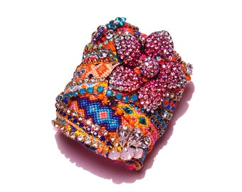 JUST FOR YOU Custom Statement Wide Rhinestone Friendship Cuff - Example