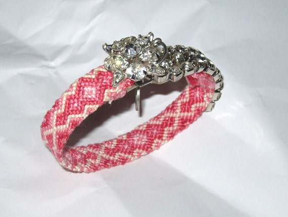 Vintage Rhinestone Friendship Bracelet - Pink Romance