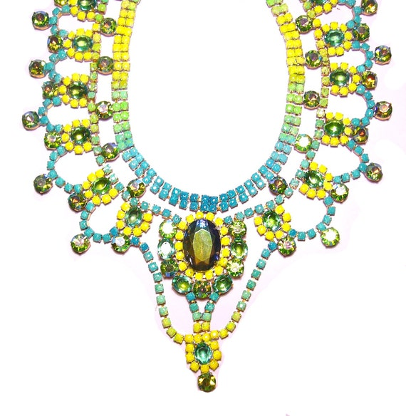 One of a Kind Gradient Neon Hand painted Vintage Rhinestone Necklace - Brazilian Seabreeze (Example)