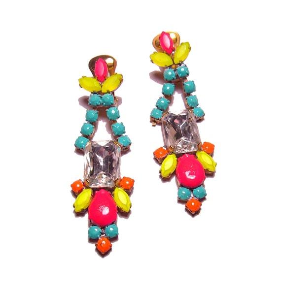 One of a Kind Neon Hand Painted Vintage Rhinestone Earrings - La Bohème