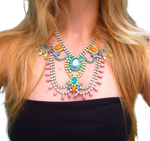 One of a Kind Pastel Hand painted Vintage Rhinestone Necklace - Pretty In Pastels