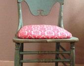 SOLD Shabby Chair -- Aqua & Pink Damask