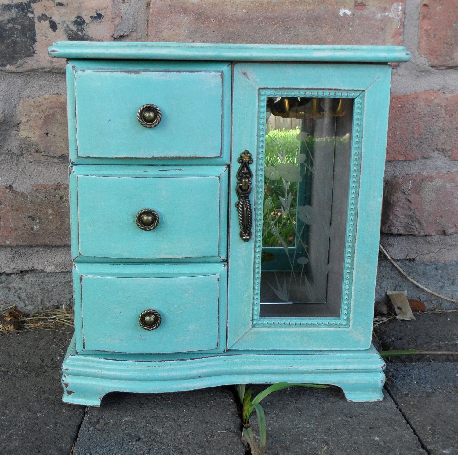 shabby chic turquoise jewelry box by chicandshabulous on etsy. Black Bedroom Furniture Sets. Home Design Ideas