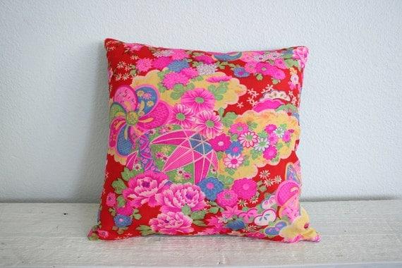 "Vintage Kimono Fabric Pillow Cover : Japanese Flower, ""Mari"" Ball pattern / Fuchsia Pink, Red, Steel Blue / 14"" x 14"""
