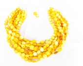 BIG BOLD Chunky Yellow-Orange Mother of Pearl Torsade Statement Necklace - Yellow Bridal - Yellow Necklace