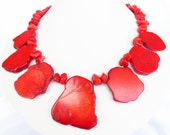 Red Bridal Jewelry - Red Turquoise Slab Statement Necklace