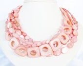 Salmon Pink Mother of Pearl Torsade Statement Necklace - Jewelry Set