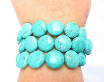 Chunky Turquoise Statement Bracelet  - Turquoise Coin Bracelet Boho Bracelet Bohemian Bracelet Gypsy Bracelet Statement Jewelry