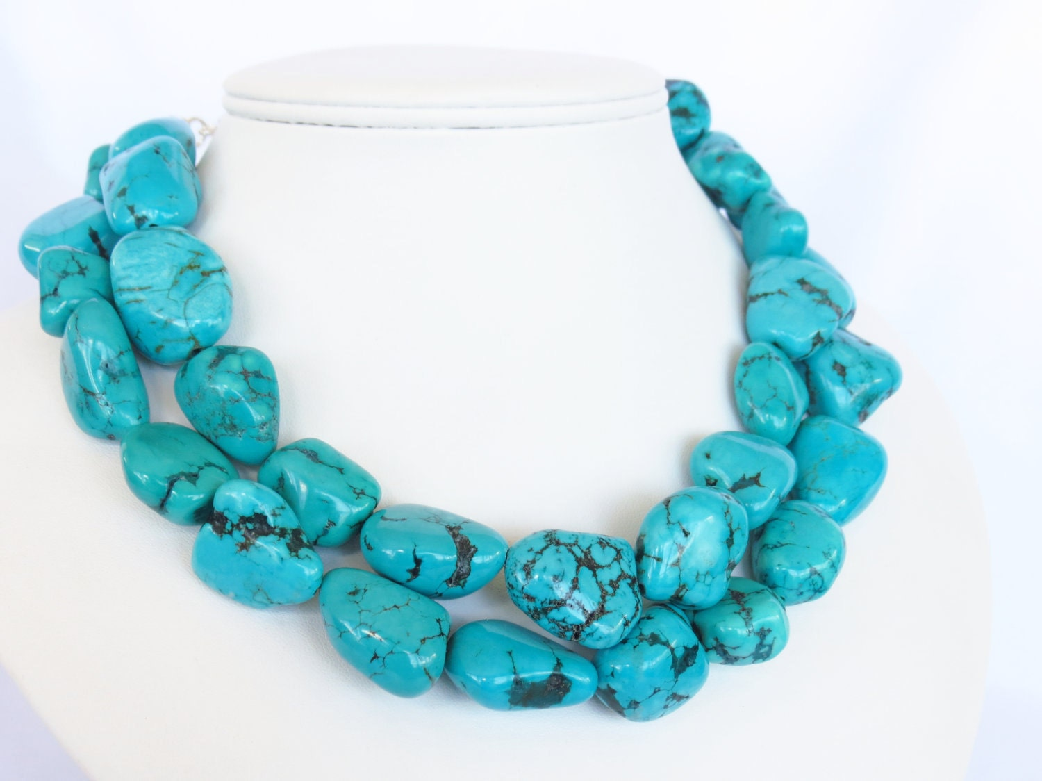 megan necklace chunky turquoise statement by