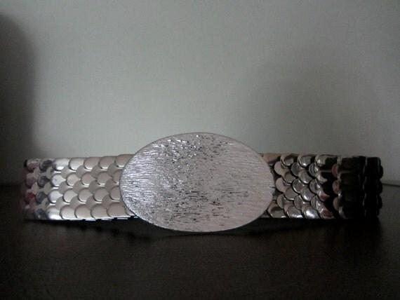 Sale // Vintage Silver Snake Scale Belt