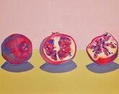 "Limited Edition Archival Print 8x10 - ""Three Pomegranates"" - Pink, Mustard Yellow, Vermillion"