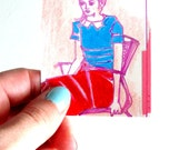 Original ACEO Portrait - Miniature Drawing - OOAK Drawing - Pink, Cobalt, Red