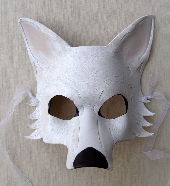 SALE White Dire Wolf Leather Mask