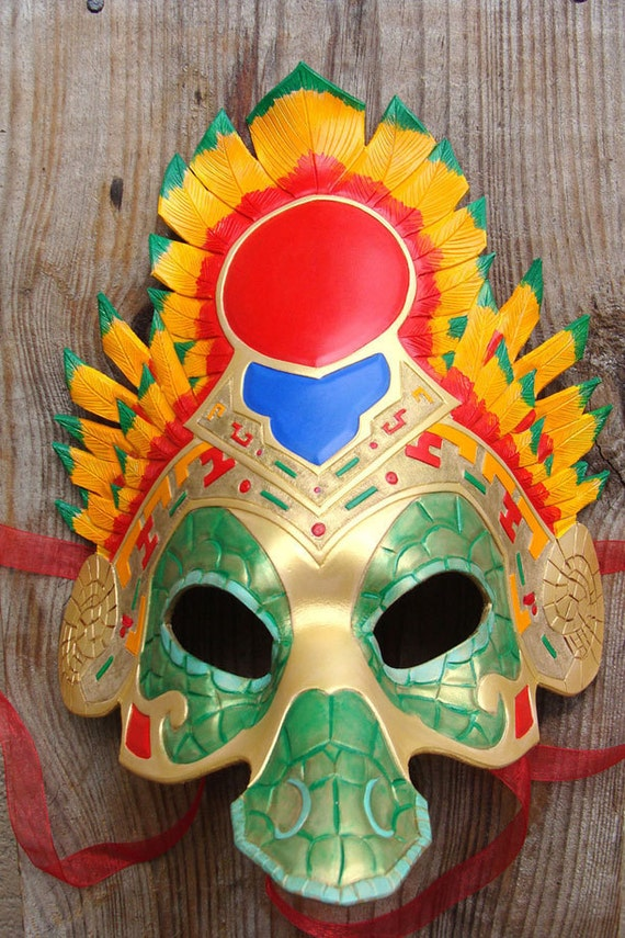 Quetzalcoatl, Aztec Feathered Serpent Leather Mask