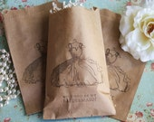 Bridesmaid Kraft Favor Bags- Will You Be My Bridesmaid- Vintage Inspired- Espresso Brown- Set of 6