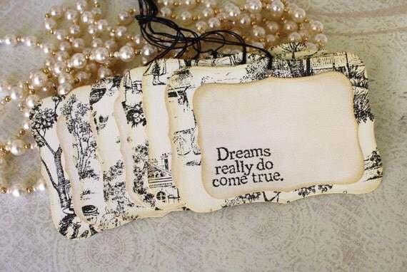 Wish Tree Wedding Tags - Dreams Really Do Come True - Chic Pattern Paper Design - Set of 6